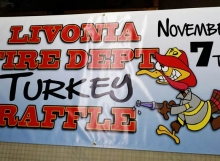 This is a banner for a turkey raffle.